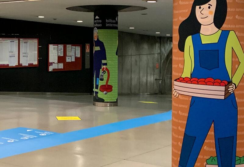 Plan Bizkaia Aurrera-diputacion de bizkaia-bizkaiko foru aldundia-COVID19-coronavirus-metro bilbao-señaletica-diseño-creatividad-la central badiola
